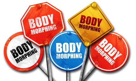 morphing: body morphing, 3D rendering, street signs Stock Photo