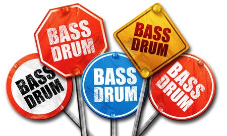 drum and bass: bass drum, 3D rendering, street signs Stock Photo