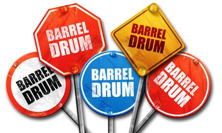 isolation tank: barrel drum, 3D rendering, street signs Stock Photo