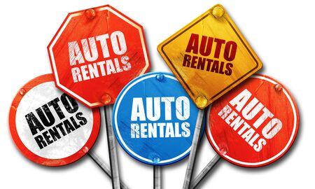 rentals: auto rentals, 3D rendering, street signs