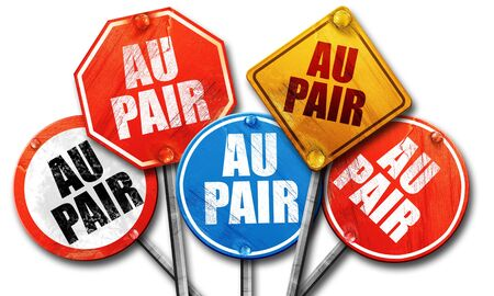 au: au pair, 3D rendering, street signs Stock Photo