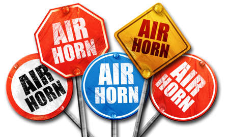 noise isolation: air horn, 3D rendering, street signs