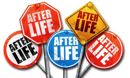 hereafter: afterlife, 3D rendering, street signs Stock Photo