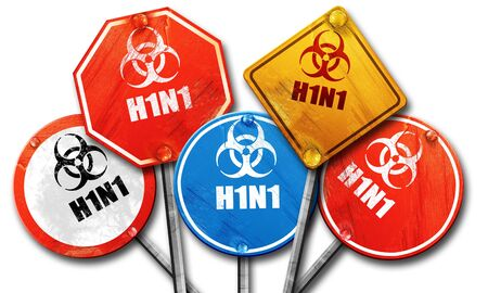 h1n1 vaccination: h1n1 virus concept background with some soft smooth lines, 3D rendering, street signs