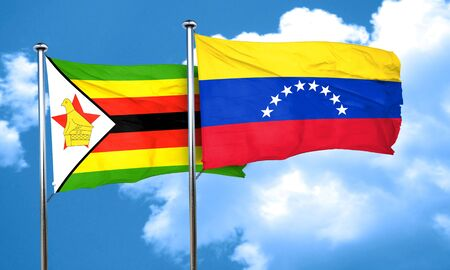 venezuela flag: Zimbabwe flag with Venezuela flag, 3D rendering Stock Photo
