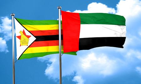 zimbabue: bandera de Zimbabwe con la bandera de EAU, representaci�n 3D