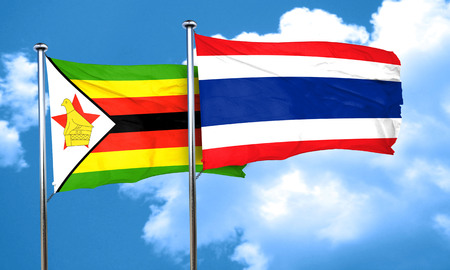 thailand culture: Zimbabwe flag with Thailand flag, 3D rendering