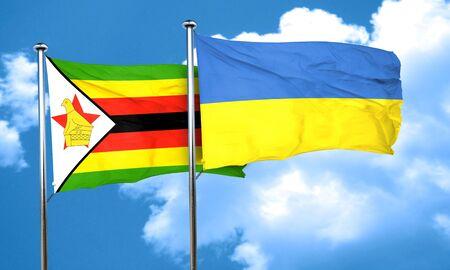 ukraine flag: Zimbabwe flag with Ukraine flag, 3D rendering Stock Photo