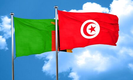 zambia flag: Zambia flag with Tunisia flag, 3D rendering