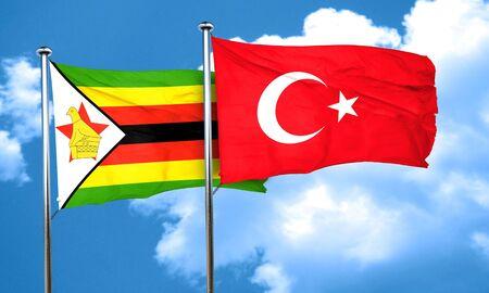 zimbabue: bandera de Zimbabwe con bandera de Turqu�a, 3D