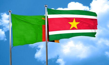 zambia: Zambia flag with Suriname flag, 3D rendering