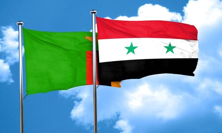 zambia: Zambia flag with Syria flag, 3D rendering Stock Photo