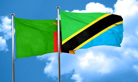 zambian: Zambia flag with Tanzania flag, 3D rendering