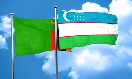 zambia flag: Zambia flag with Uzbekistan flag, 3D rendering