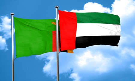 zambia flag: Zambia flag with UAE flag, 3D rendering