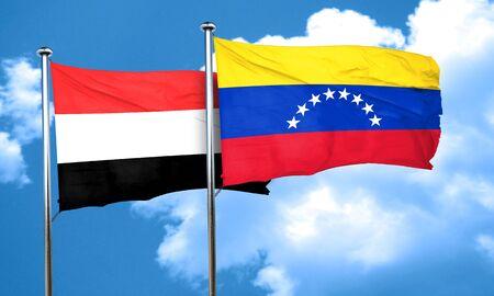 yemen: Yemen flag with Venezuela flag, 3D rendering