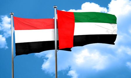 yemen: Yemen flag with UAE flag, 3D rendering