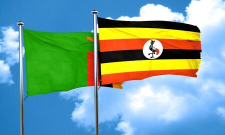 zambia flag: Zambia flag with Uganda flag, 3D rendering