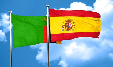 zambia flag: Zambia flag with Spain flag, 3D rendering
