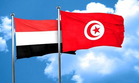 tunisia: Yemen flag with Tunisia flag, 3D rendering
