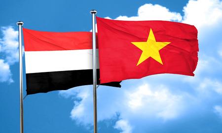vietnam flag: Yemen flag with Vietnam flag, 3D rendering