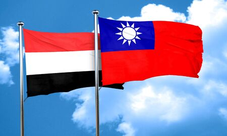 taiwanese: Yemen flag with Taiwan flag, 3D rendering