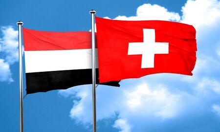 yemen: Yemen flag with Switzerland flag, 3D rendering