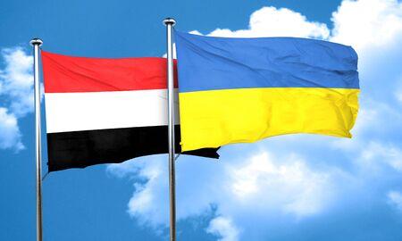 ukraine flag: Yemen flag with Ukraine flag, 3D rendering