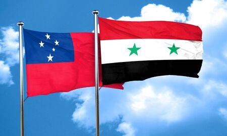 samoa: Samoa flag with Syria flag, 3D rendering