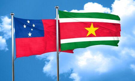 samoa: Samoa flag with Suriname flag, 3D rendering