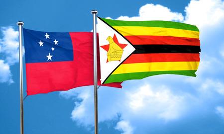 zimbabwe: Samoa flag with Zimbabwe flag, 3D rendering