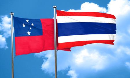 samoa: Samoa flag with Thailand flag, 3D rendering