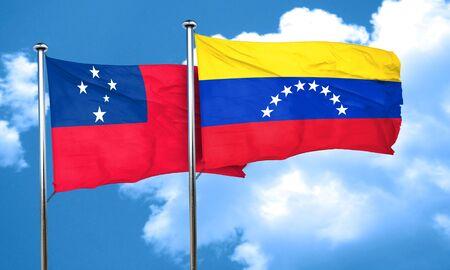 venezuela flag: Samoa flag with Venezuela flag, 3D rendering
