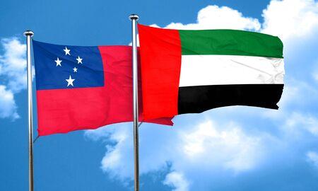 samoa: Samoa flag with UAE flag, 3D rendering Stock Photo