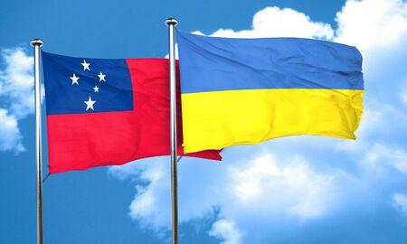 ukraine flag: Samoa flag with Ukraine flag, 3D rendering