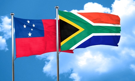 south africa flag: Samoa flag with South Africa flag, 3D rendering Stock Photo