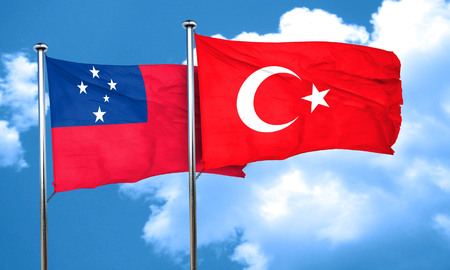 samoa: Samoa flag with Turkey flag, 3D rendering Stock Photo