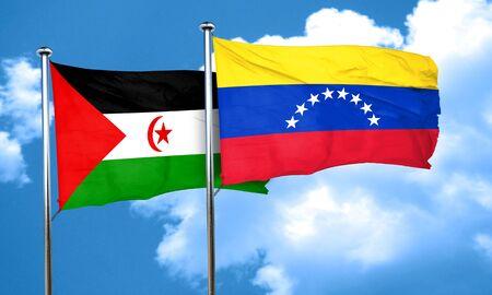 bandera de venezuela: Bandera de Western Sahara con la bandera de Venezuela, 3D Foto de archivo
