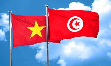 vietnam flag: Vietnam flag with Tunisia flag, 3D rendering
