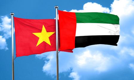vietnam flag: Vietnam flag with UAE flag, 3D rendering