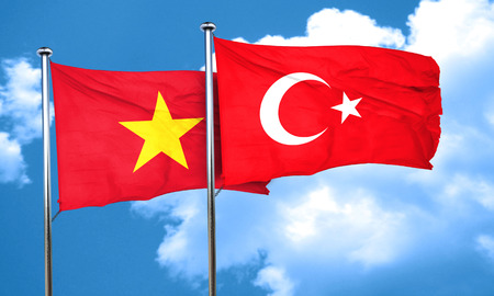 vietnam flag: Vietnam flag with Turkey flag, 3D rendering Stock Photo