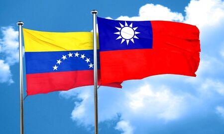 bandera de venezuela: bandera de Venezuela con la bandera de Taiw�n, 3D