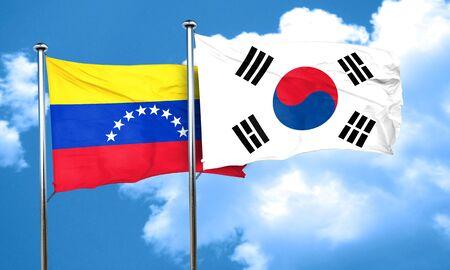 bandera de venezuela: Venezuela flag with South Korea flag, 3D rendering Foto de archivo