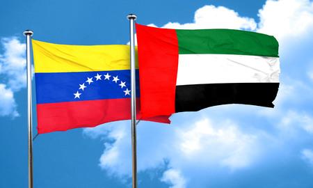 bandera de venezuela: bandera de Venezuela con la bandera de EAU, representación 3D Foto de archivo
