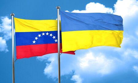 venezuela flag: bandera de Venezuela con la bandera de Ucrania, 3D