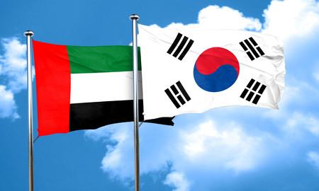 korea flag: uae flag with South Korea flag, 3D rendering