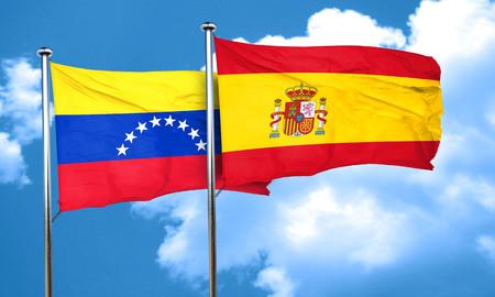 bandera de venezuela: bandera de Venezuela con la bandera de Espa�a, 3D