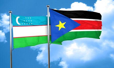 uzbekistan: Uzbekistan flag with South Sudan flag, 3D rendering Stock Photo