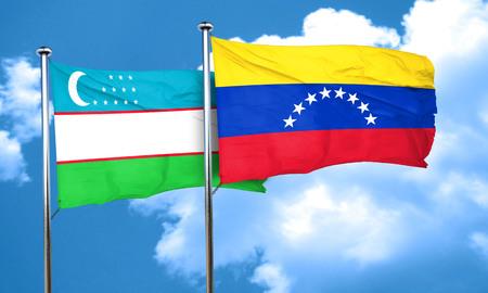 bandera de venezuela: bandera de Uzbekist�n con la bandera de Venezuela, 3D Foto de archivo