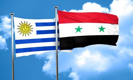 bandera de uruguay: bandera de Uruguay con la bandera de Siria, 3D